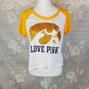 Pink Victoria's Secret crop top shiny gold L